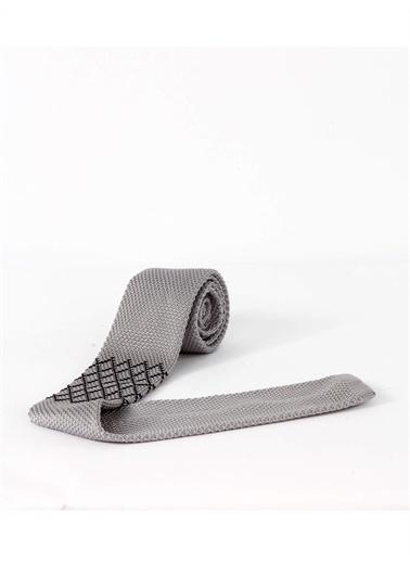 Dufy Grı Desenlı Örme Kravat Gri